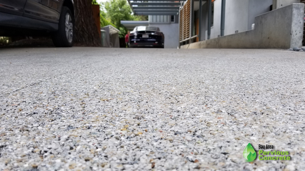 Polished Fine Grain Pervious Concrete Driveway - Palo Alto, CA