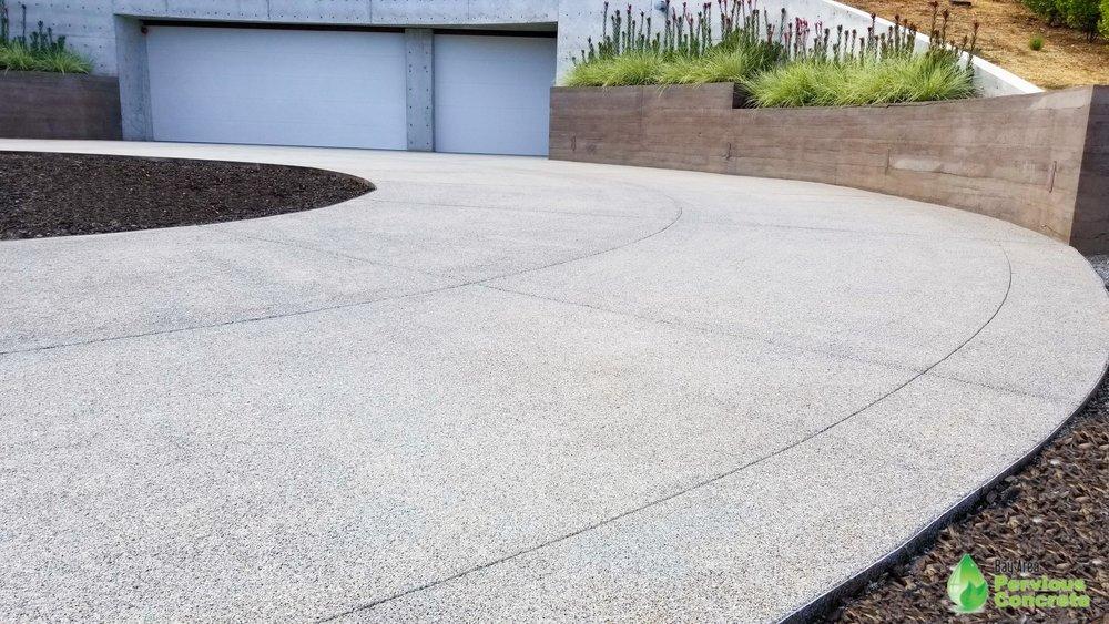Polished Pervious Concrete Driveway - Los Altos Hills, CA