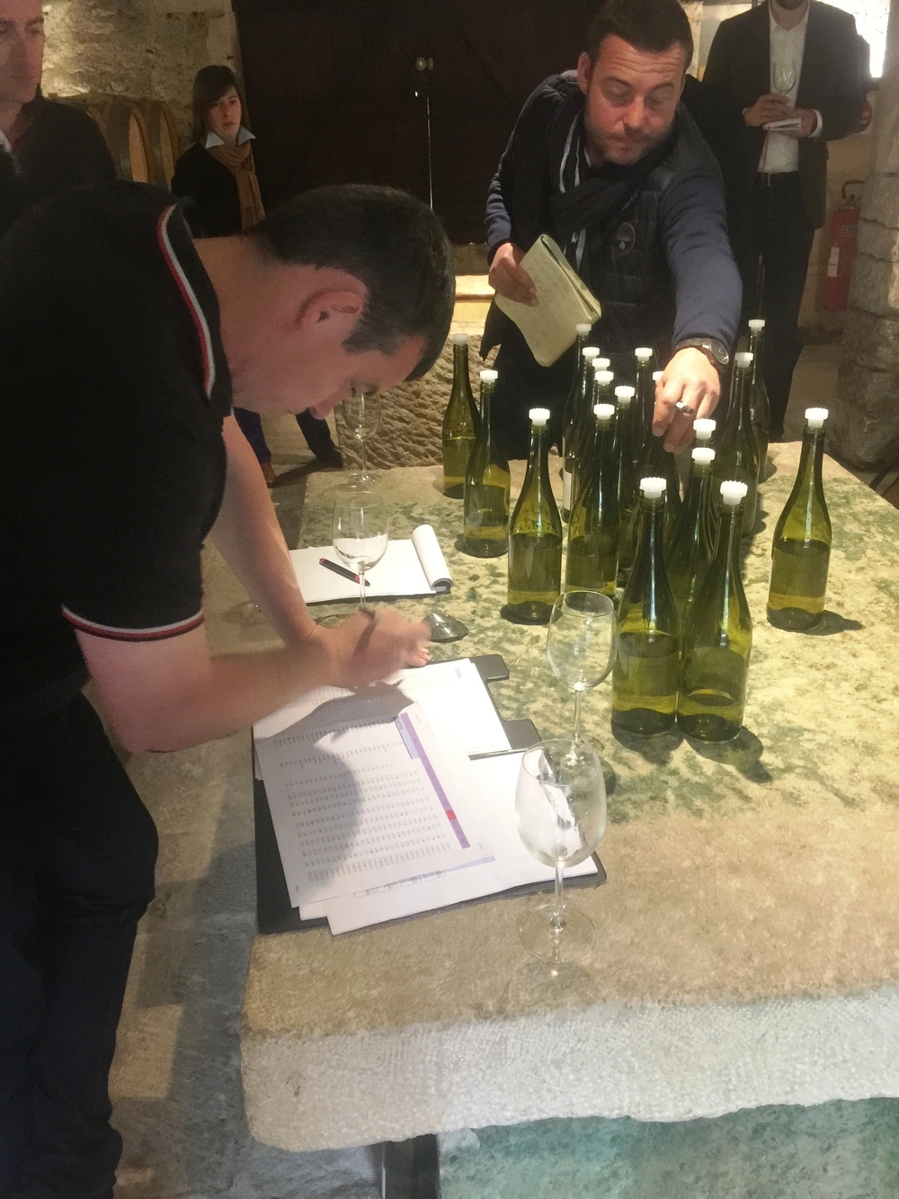 Winemaker Gregory Viennois making the final call on a sample.