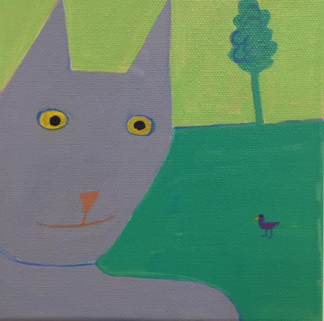 """IT'S MY NATURE acrylic/canvas 6""""H X 6""""W Sharon Shaver  $150."""