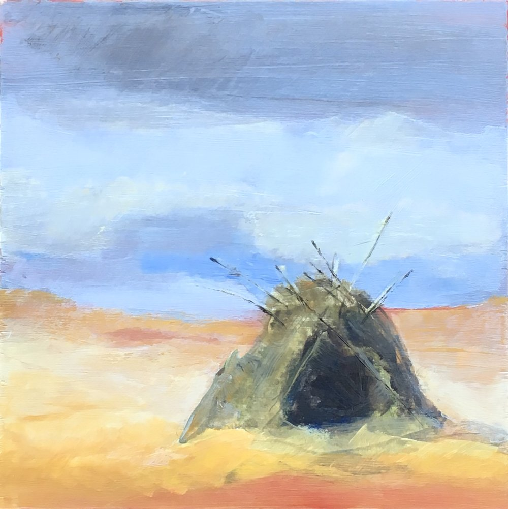 "Grass Shelter Study, Acrylic on Wood, 10""x10"" by Jiji Saunders"