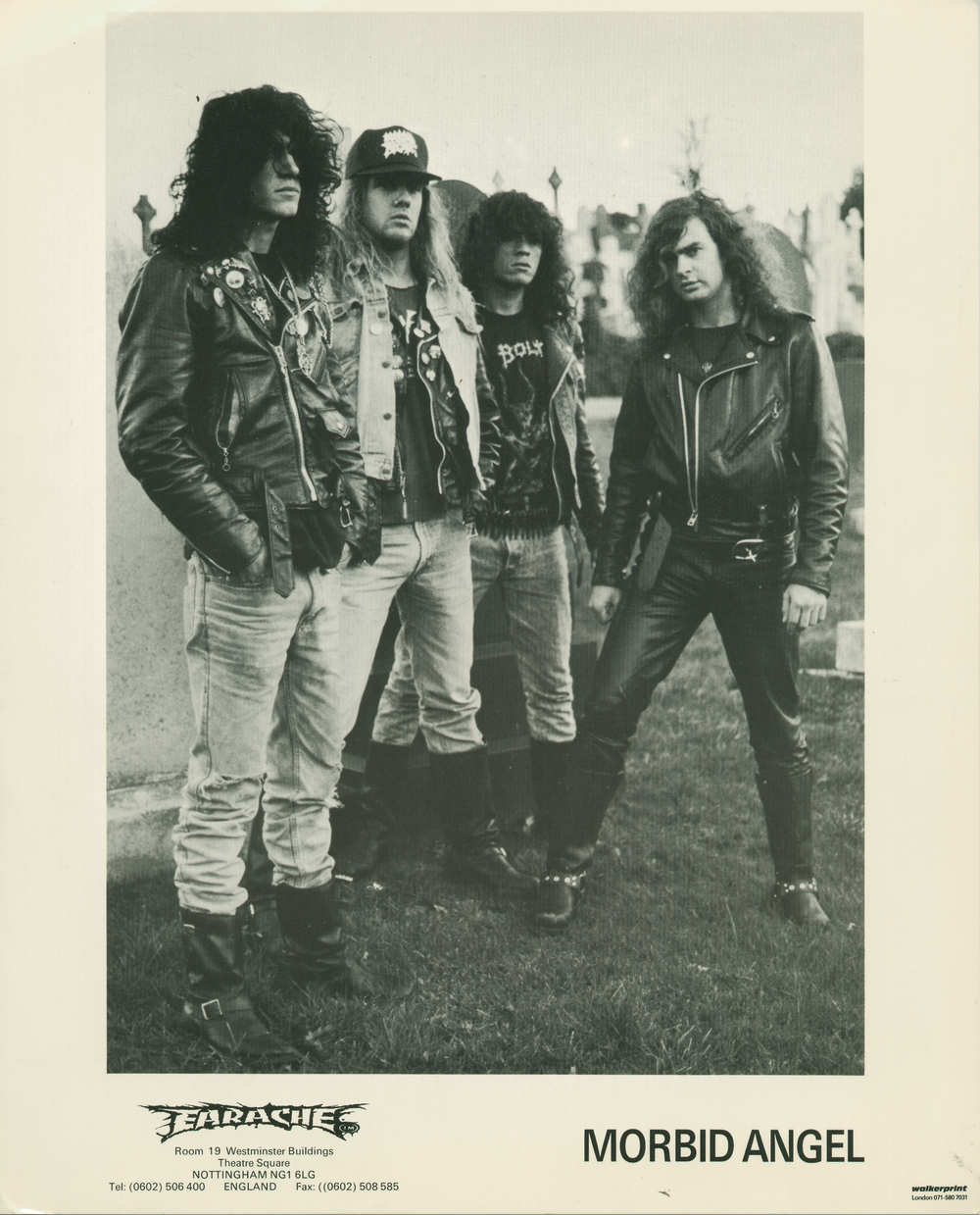 An early Morbid Angel promotional picture from Earache Records.