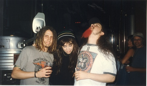 Eyehategod's Mike Williams, White Zombie's Sean Yseult (in a wig), and Pantera's Dimebag Darrell on this tour (photo courtesy of Sean Yseult).
