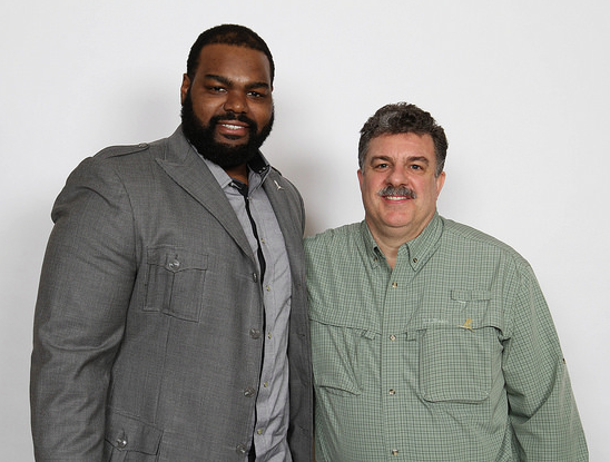 Skyport IT President Dan Marcellus with Carolina Panthers football player Michael Oher