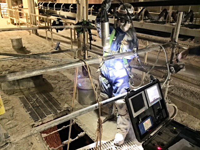 Spectrum 90™ drop camera inspects potash ore bin