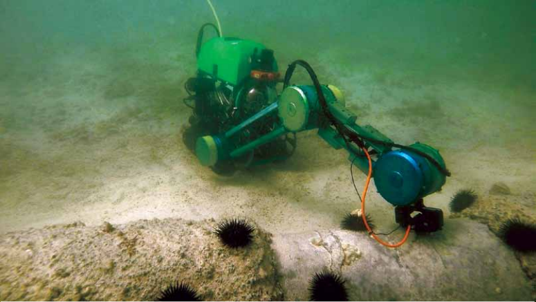 The Shallow Water Inspection and Monitoring Robot (SWIM-R) developed by Saudi Aramco