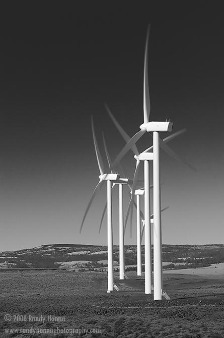Whiskey Dick Wind Farm, near Ellensburg, WA Oct 2008  Nikon D300, 70-200VR @ 90mm, ISO 100 @ 1/40 sec & f22