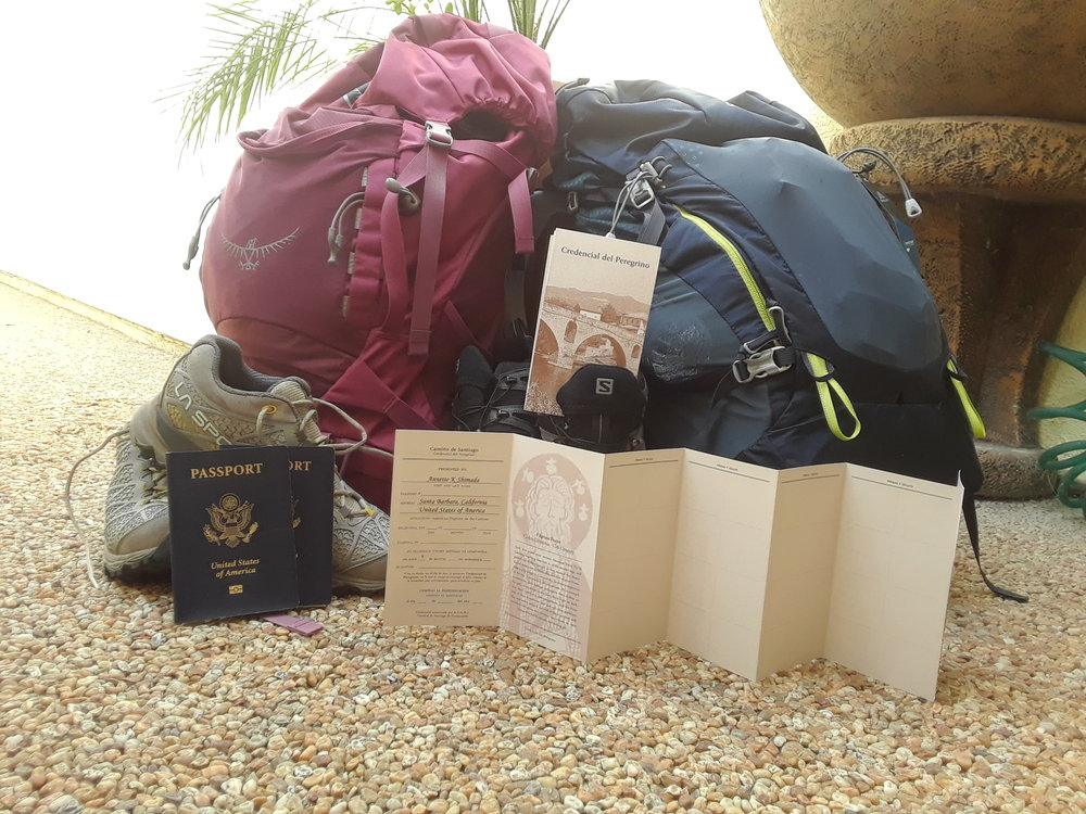 Packs, hiking shoes, US passports, Pilgrim passports.jpg