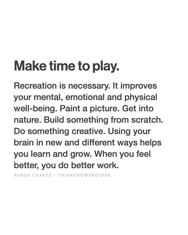 """Fun fact: The word recreation comes from the Latin word """"recreare"""" which means to create again or renew. When you take time to play, you renew your energy so you can continue to create. Just because it's fun doesn't mean it's not productive. - This post is from a note I wrote to myself in my phone a while back. I'm currently organizing and synthesizing all the notes and reminders I've written to myself over the years into a coherent life philosophy — my """"personal commandments"""" if you will. So far, it has been an eye-opening and extremely useful exercise for me, for several reasons. Excited to share more with you soon... —Ruben"""