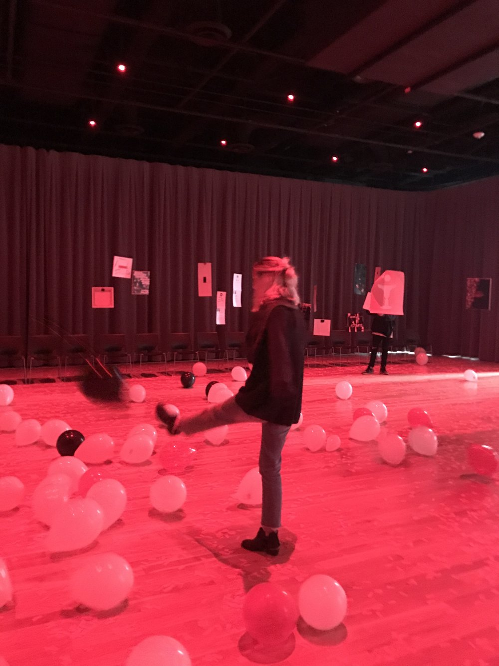 100 balloons were released in the gallery – 80 white and 20 red (representing the 20% of women who become survivors of sexual assault while in college)