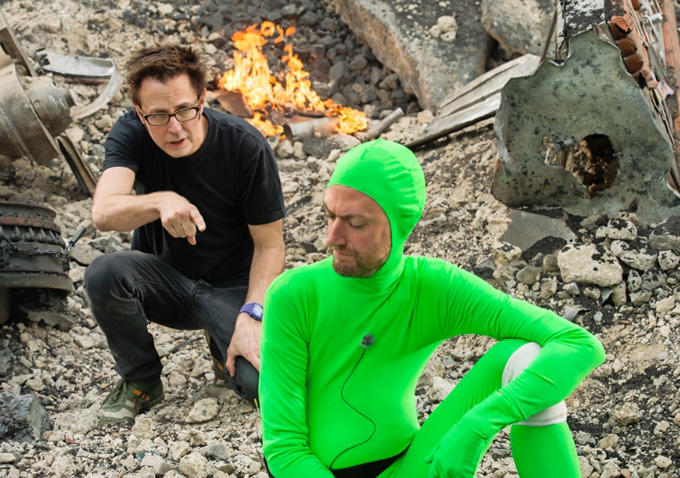 James Gunn (right) directing  Guardians of the Galaxy  with love, integrity and green suits.