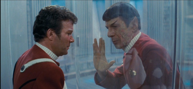 Captain Kirk (William Shatner) and Spock (Leonard Nimoy) in Stark Trek II: The Wrath of Khan