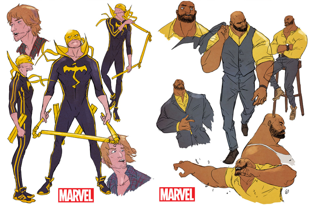 Power Man and Iron Fist art by Sanford Greene.