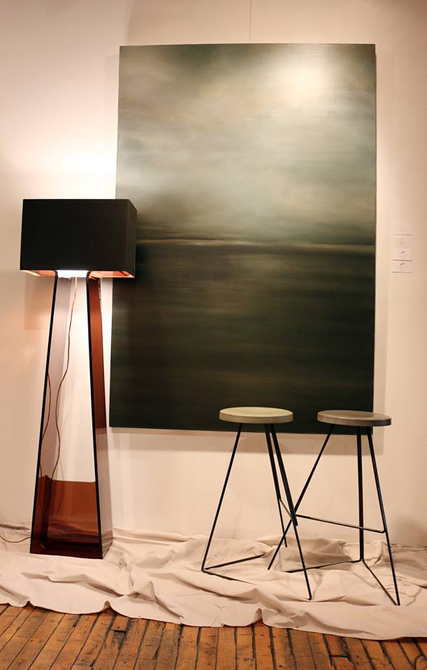 The crowd's favorite Vignette featuring a beautiful Richard Rehl piece and a modern lamp and two stools from Rypen's furniture collection.