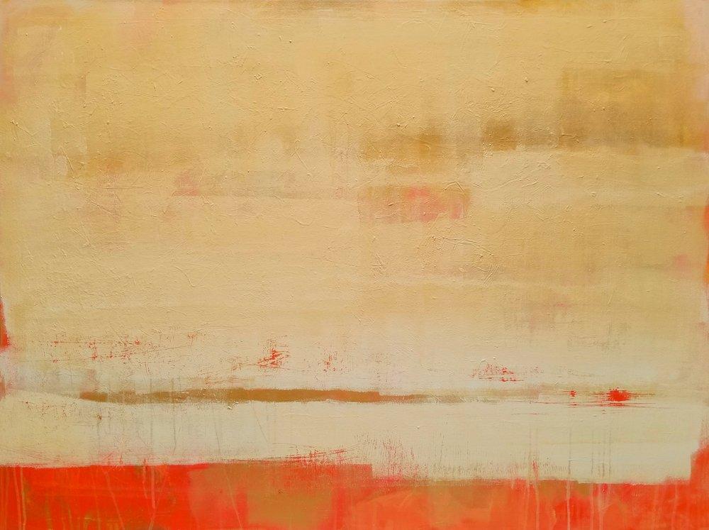 "Yellow over Scarlet Landscape   Allison Johanson  acrylic on canvas  36"" x 48"""