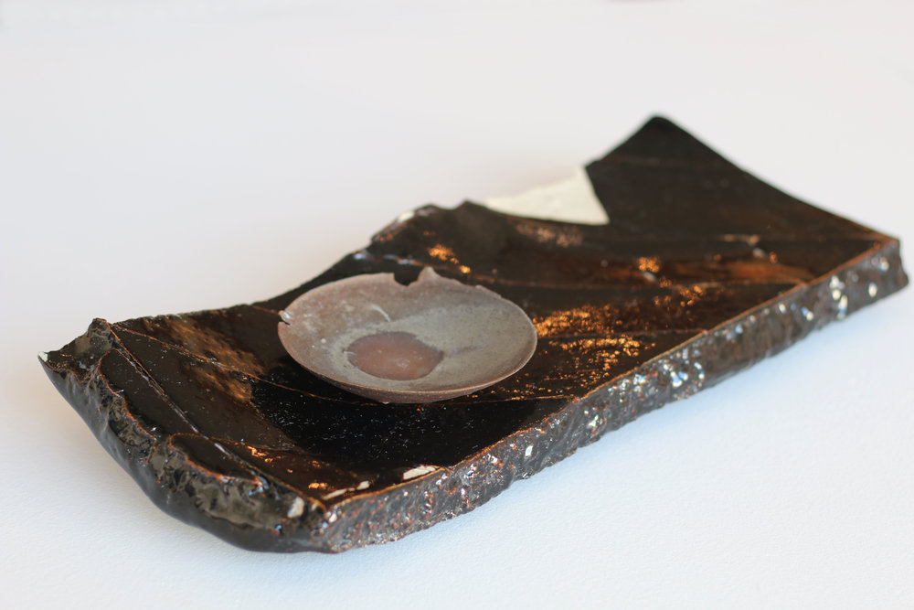 Black Slab Tray & Small Dish with Ripped Lip
