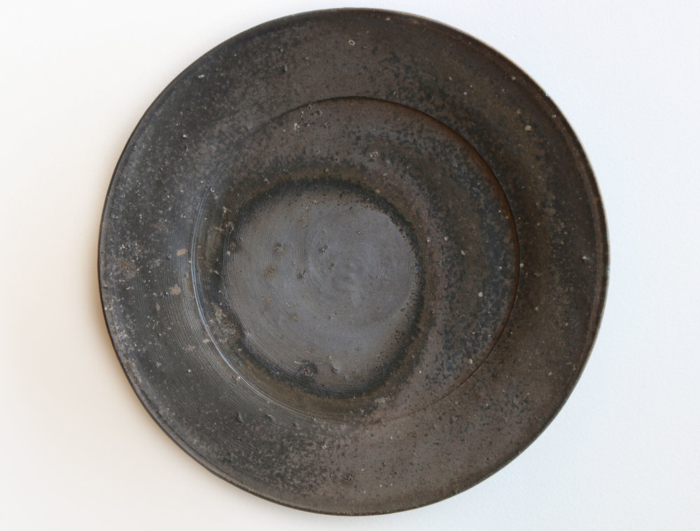 Platter with Elevated Foot with Incised Lines