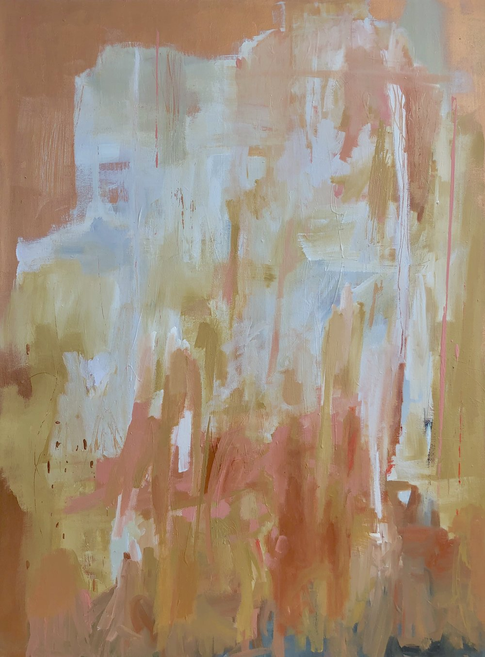 """Copper Pink Abstract"", acrylic on canvas, 48"" x 36"""