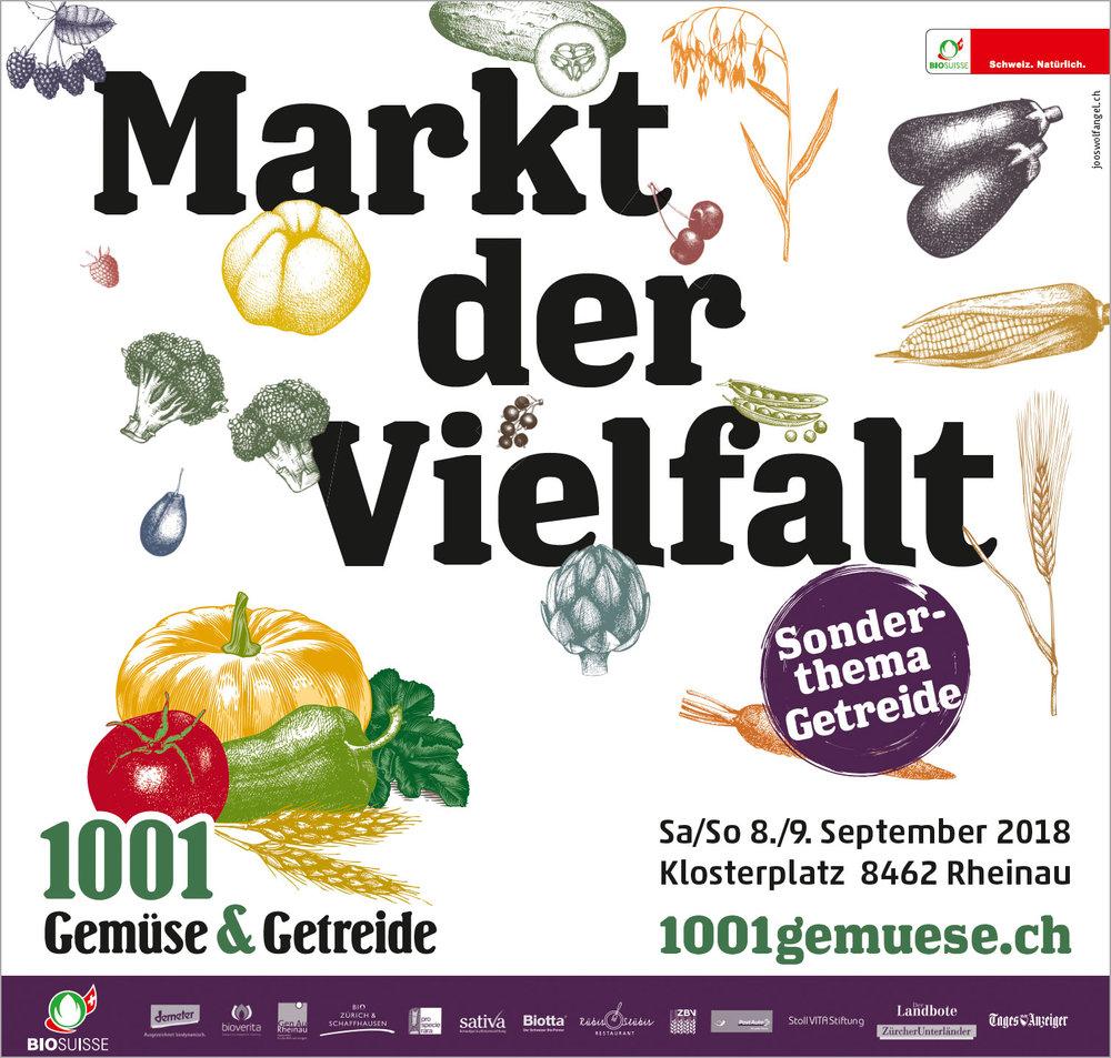 1001 Gemüse & Getreide  ist das Thema des diesjährigen Vielfaltmarktes in Rheinau. Mit farbig auffallenden Sujets gestaltet JoosWolfangel den Auftritt ganz neu.  Zum Arbeitsbeispiel →
