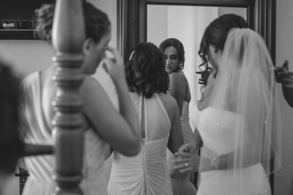Lake Tahoe California Wedding Photographer bride looking in mirror