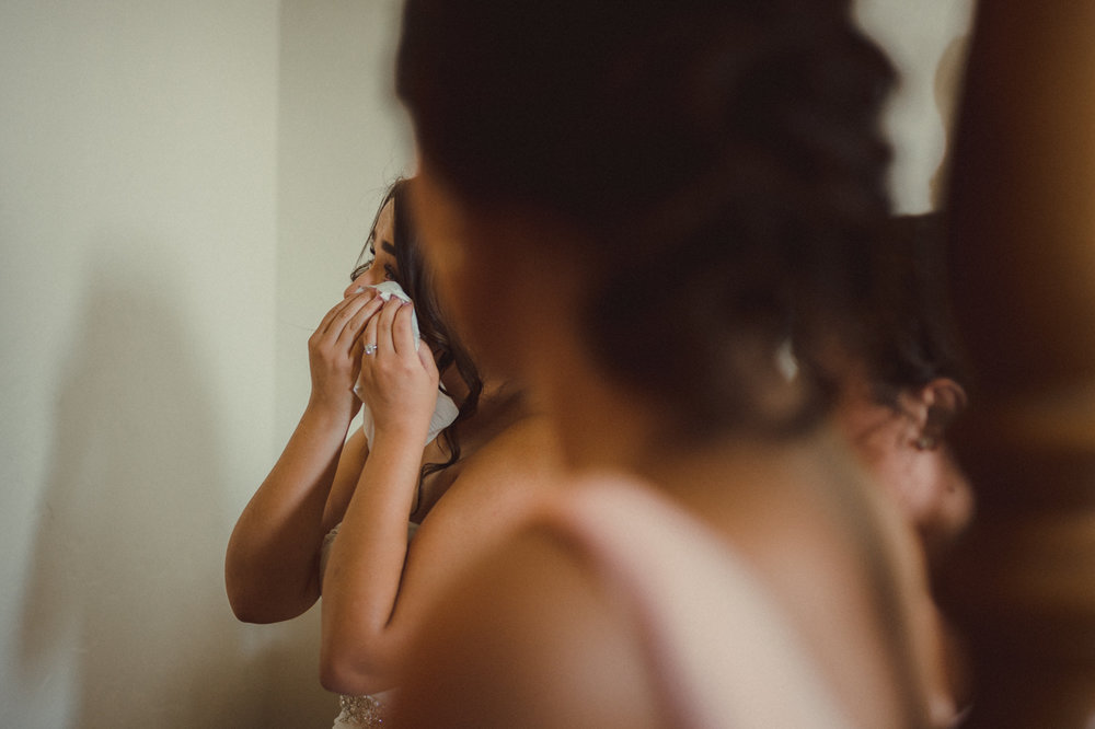 Lake Tahoe California Wedding bride crying photo