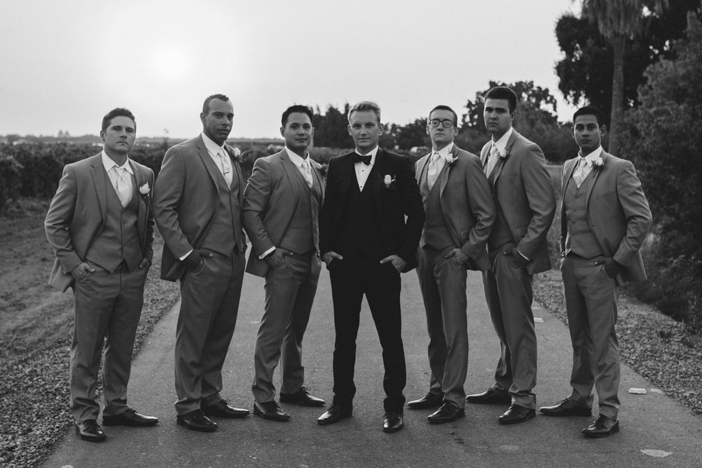 California wedding private venue groom and her groomsmens photo