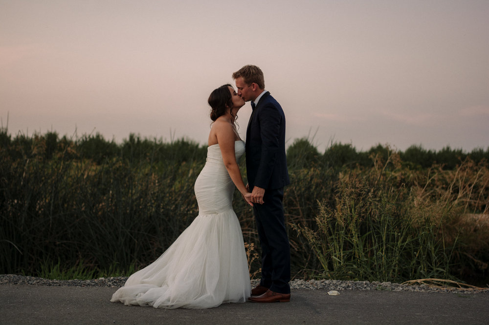 California Wedding private venue bride and groom kissing photo