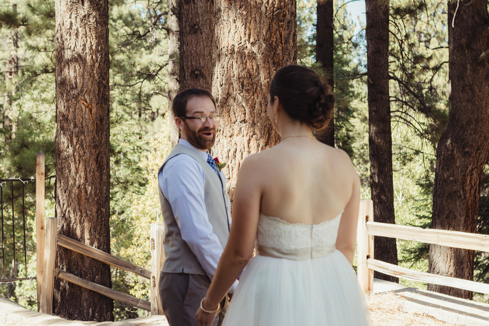Galena Creek Hatchery first look wedding photo in Reno, NV