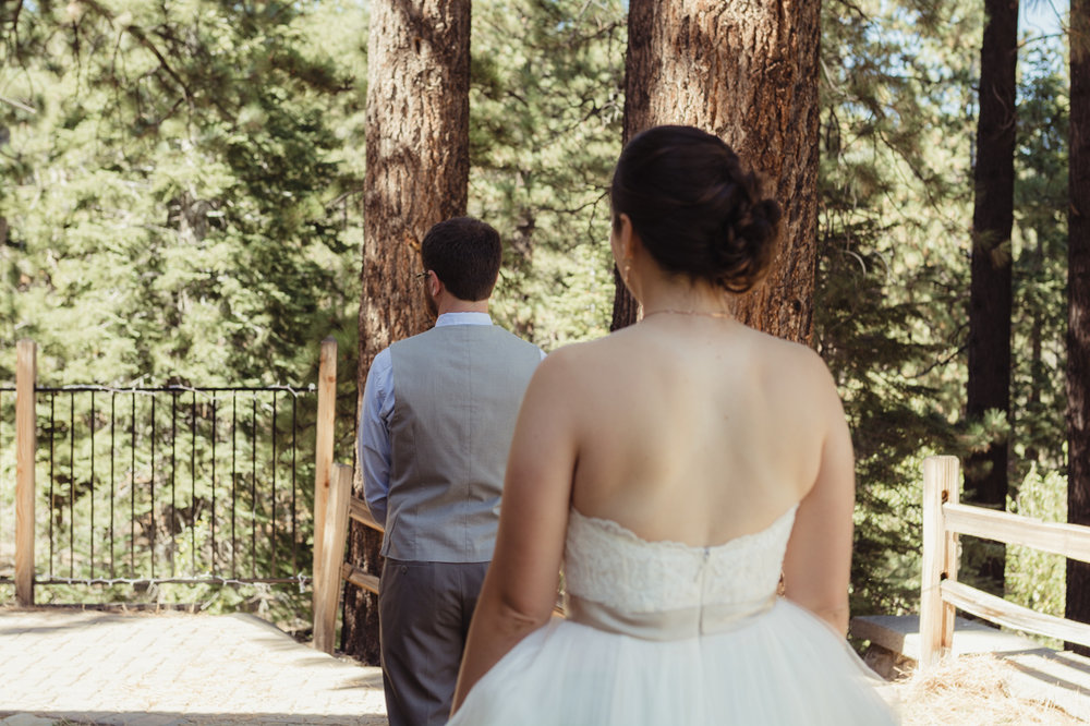 Galena Creek Hatchery first look wedding photo