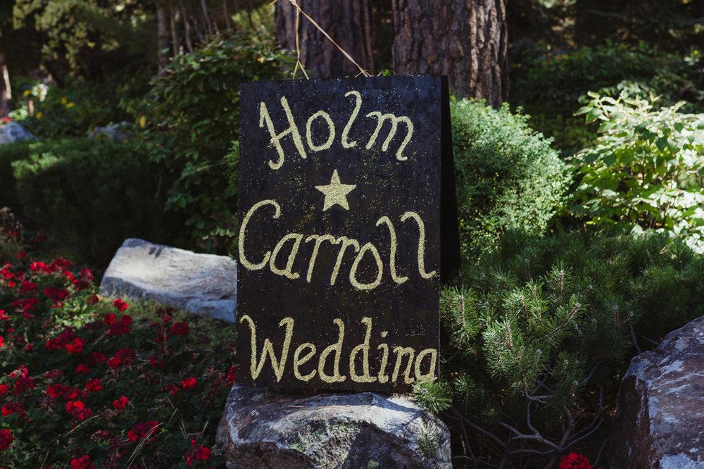 Incline Village wedding sign photo