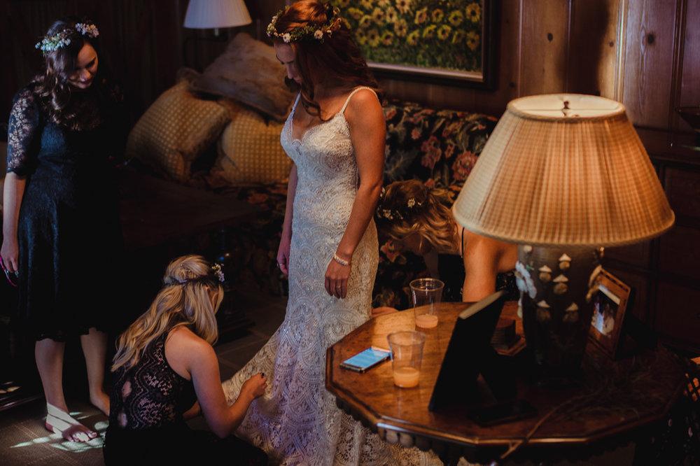Incline Village wedding bride wearing her wedding dress photo
