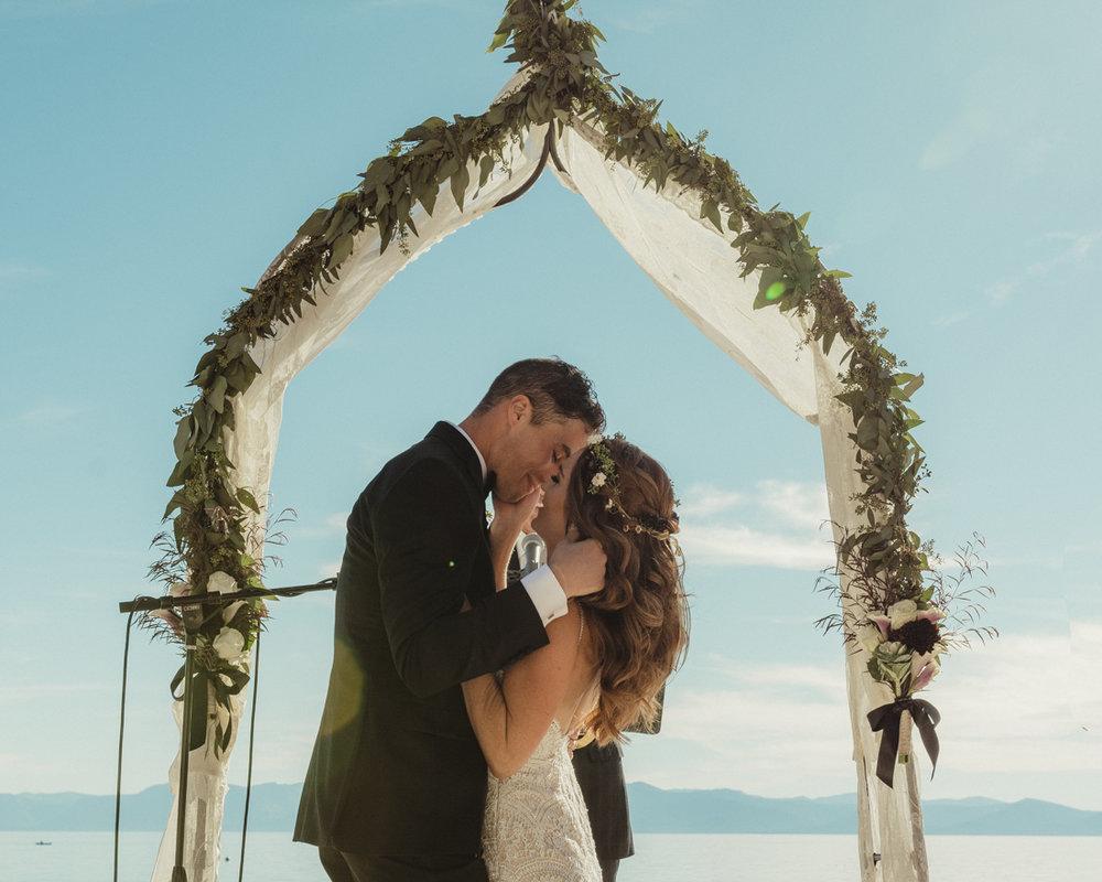 Incline Village wedding first kiss photo