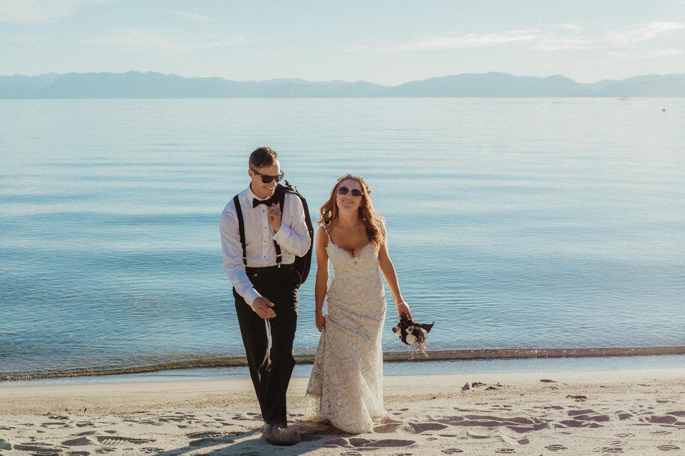 Incline village beach wedding photo