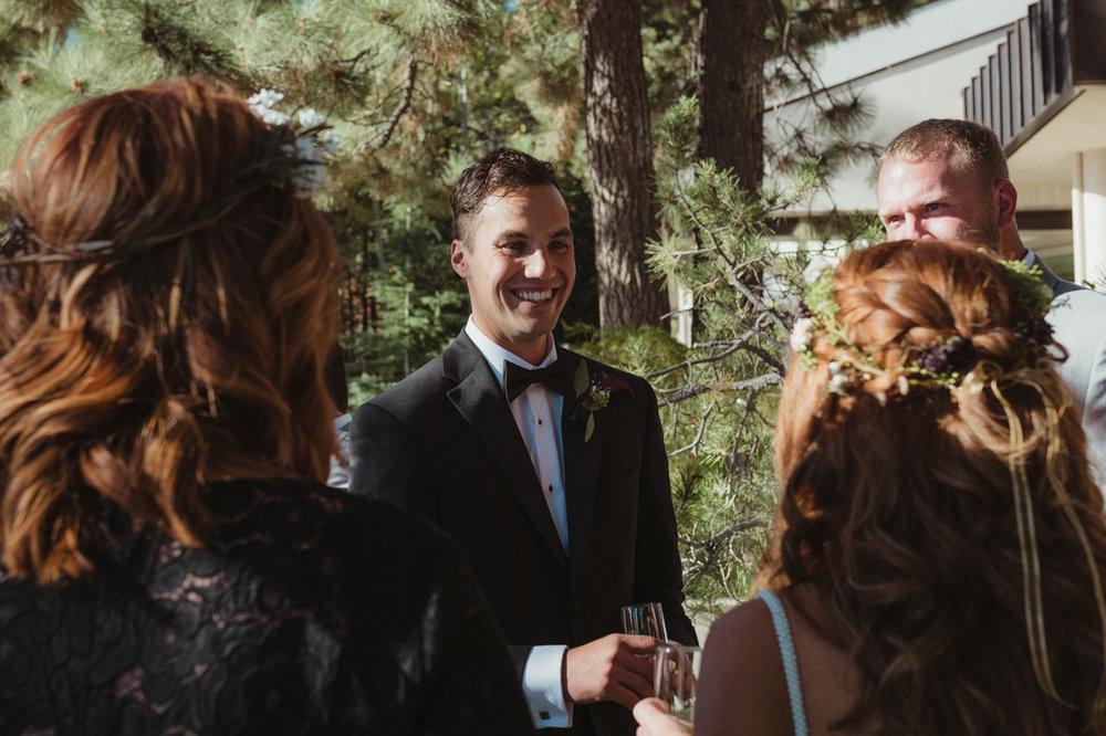 Incline village wedding groom looking at his bride photo
