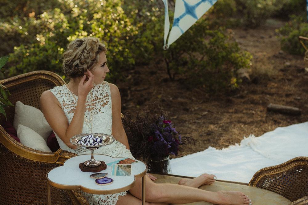 Bohemian bride lounging photo