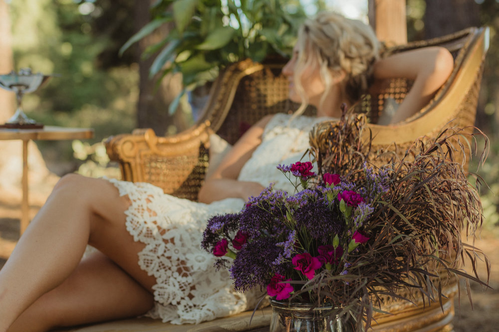 bohemian styled flowers photo