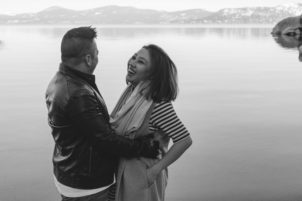 Lake Tahoe engagement session couple laughing at Sand Harbor photo