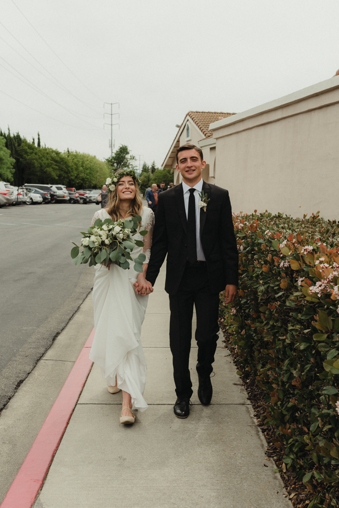 Vacaville wedding couple walking together photo