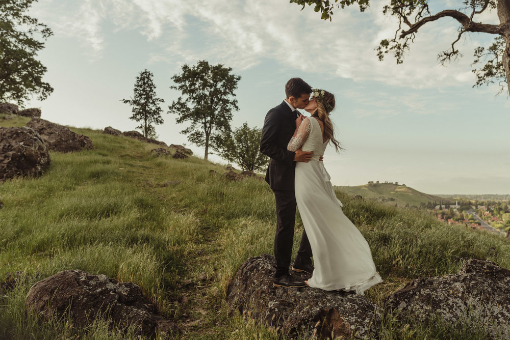 California Wedding photo of a couple overlooking Vacaville