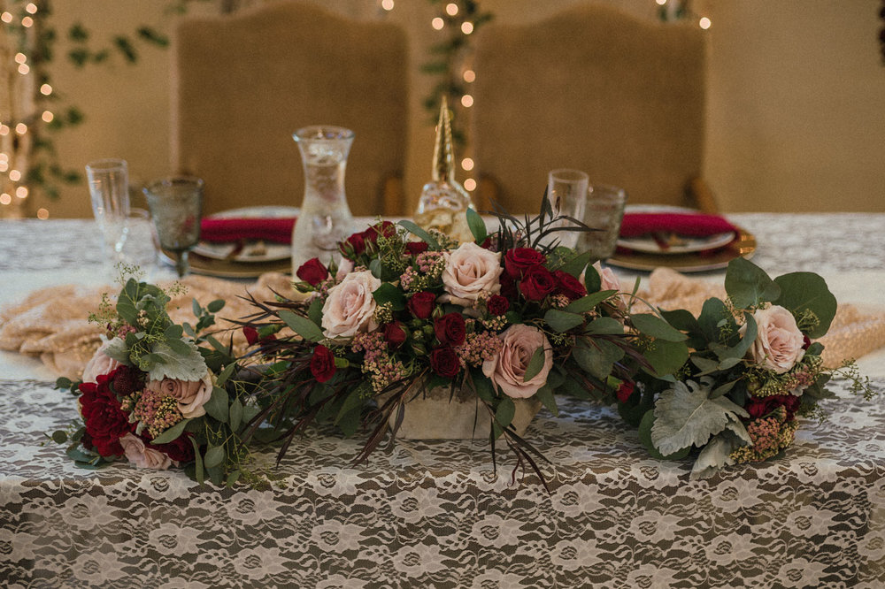 Wilbur D May Museum wedding, Beauty and the Beast flower decor photo