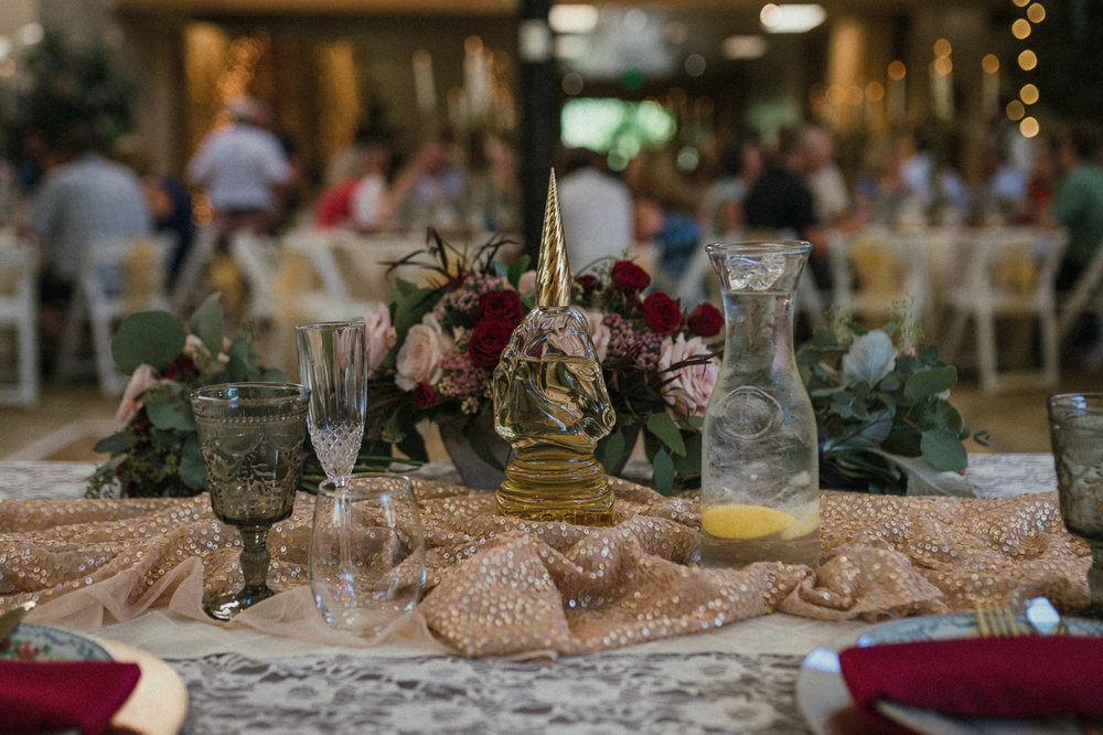 Wilbur D May Museum wedding, Beauty and the Beast wedding glassware photo