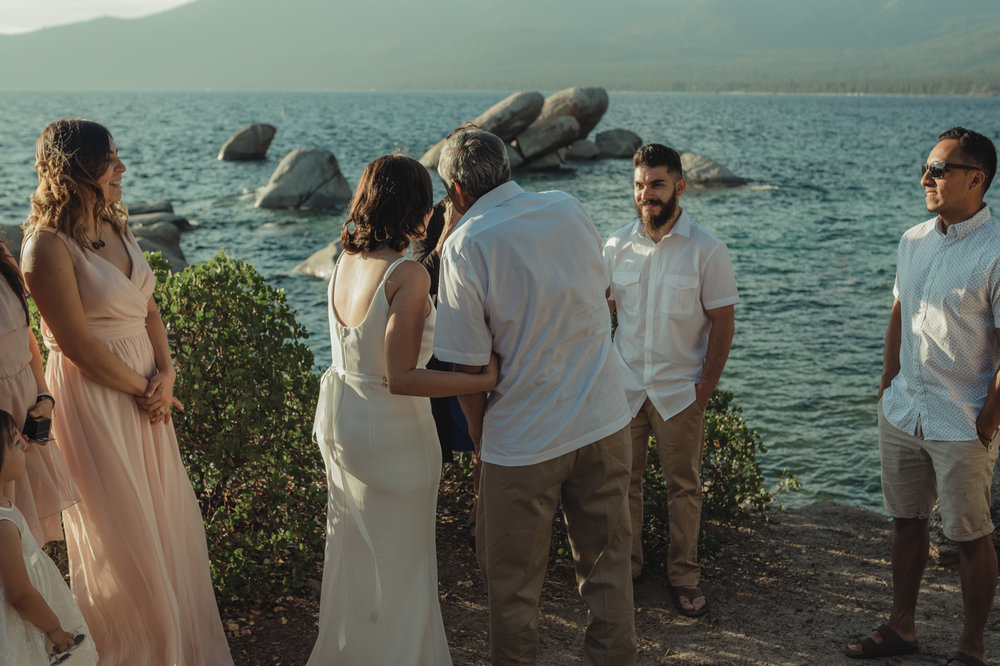 Lake Tahoe elopement bride being walked by her dad photo