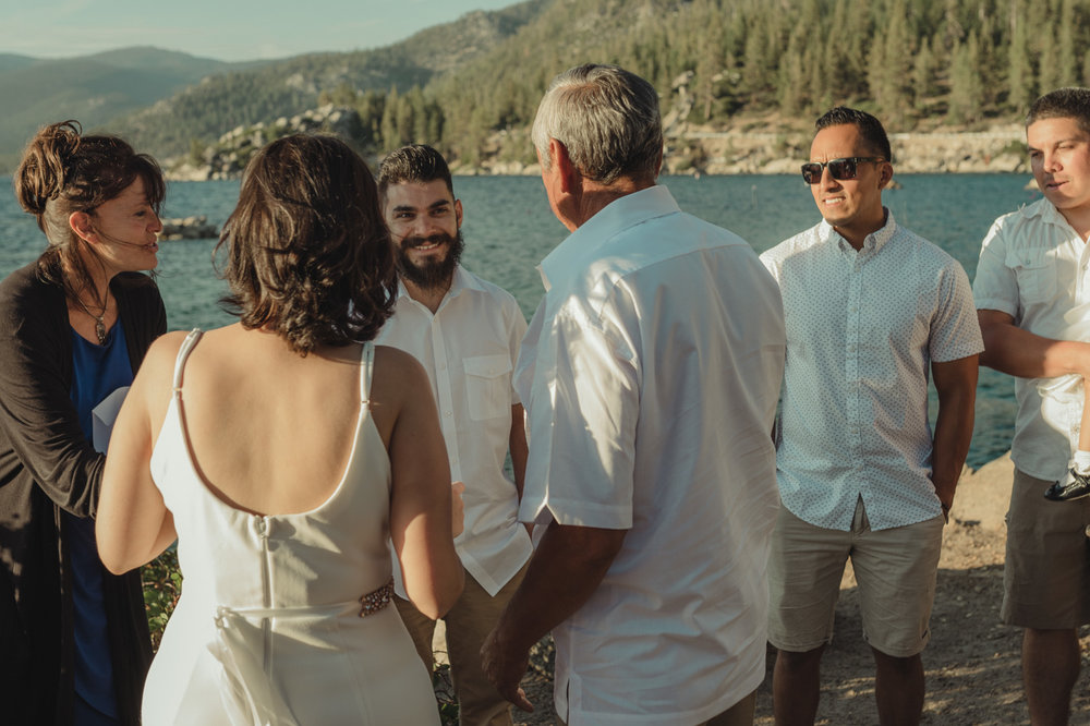 Lake Tahoe elopement ceremony photo