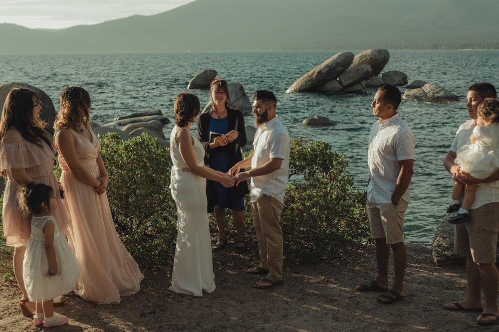 Lake Tahoe elopement ceremony photo