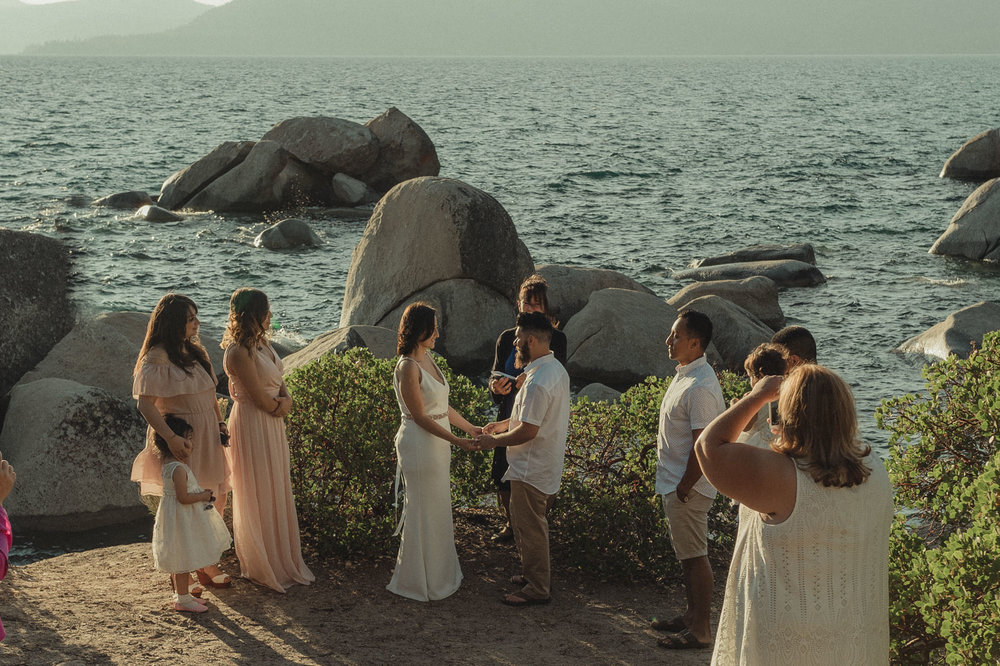 Lake Tahoe elopement bridal party photo during the ceremony