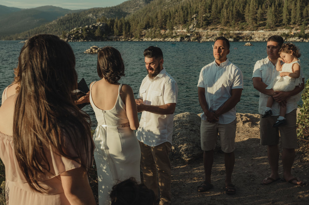 Lake Tahoe elopement groom during the ceremony photo