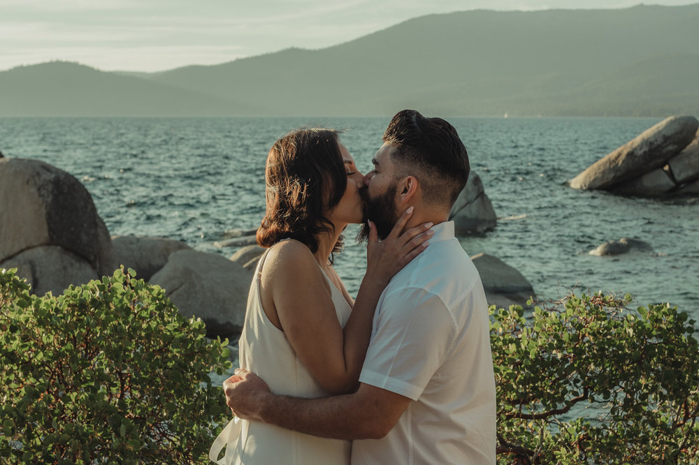 Lake Tahoe elopement first kiss photo