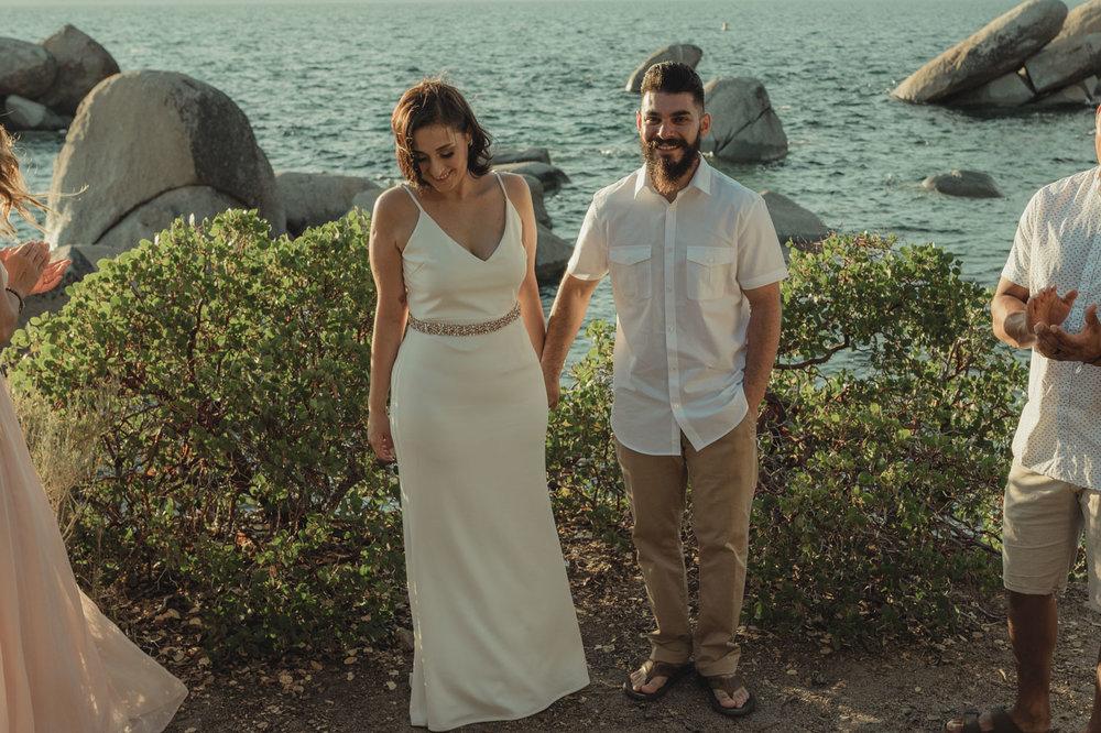 Lake Tahoe elopement photo in Sand Harbor