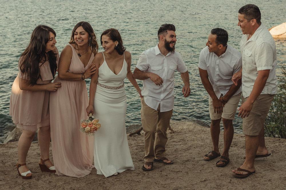 Lake Tahoe elopement bridal party laughing photo