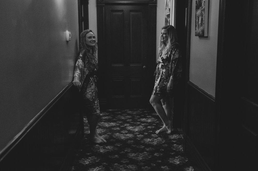 Wedgewood Sequoia Mansion wedding girls standing in front of the door photo